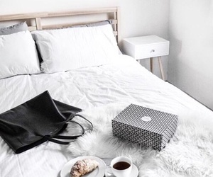 white, bedroom, and coffee image