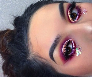 glitter, makeup, and valentines image