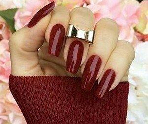 nails, red, and outfit image