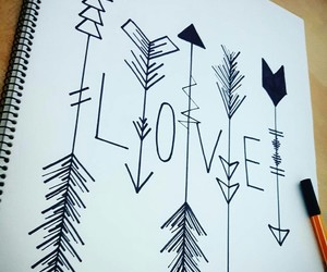 art, drawings, and love me image
