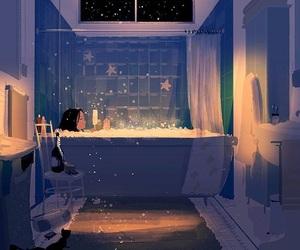 bath, art, and night image