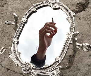 mirror, cigarette, and grunge image