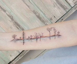 tattoo, ink, and tree image