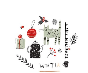 drawing, winter, and happy holidays image