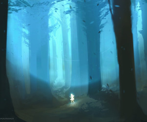 fantasy art, forest, and girl image