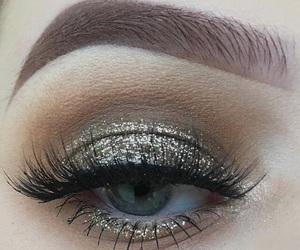 eye, make up, and silver image