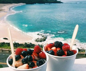 fruit, food, and beach image