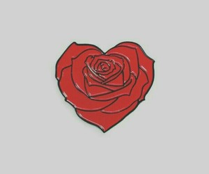 heart, rose, and pins image