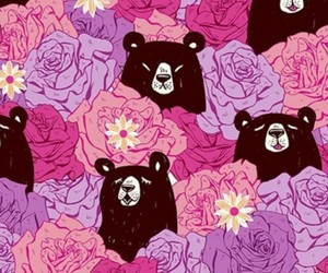 wallpaper, bear, and flowers image