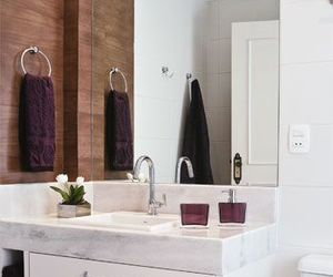 bathroom, mirror, and objects image