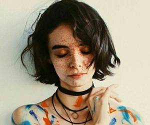 girl, freckles, and art image