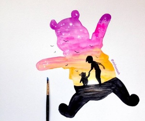 art, painting, and pooh image