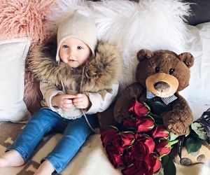 baby, roses, and red image