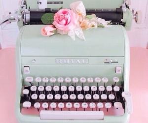 vintage, typewriter, and pink image