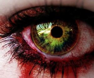 eye, black and white, and blood image
