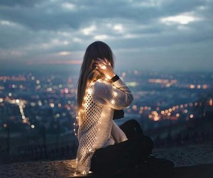 girl, light, and city image