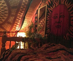 plants, tapestry, and bedroom image