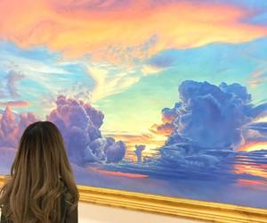 girl, art, and clouds image