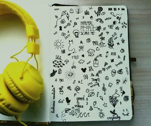 doodle, headphones, and inspiration image