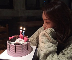 girl, ulzzang, and cake image