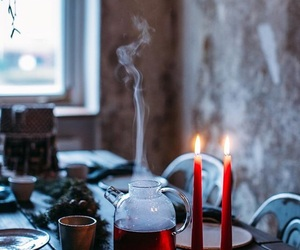 candles, teatime, and glass image