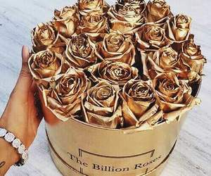 gold, rose, and flowers image