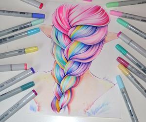 braid, draw, and hairs image