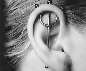 black and white, piercing, and hair image