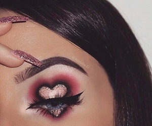 makeup, heart, and nails image