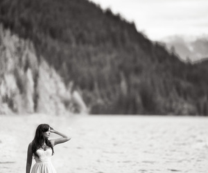 black and white, dress, and river image