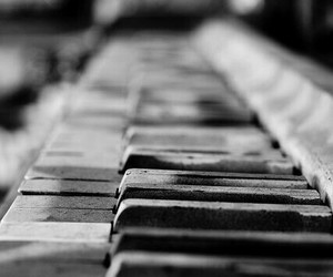 piano, black and white, and black image