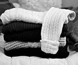 sweater, fashion, and black and white image