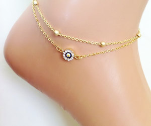 bridal jewelry, etsy, and evil eye anklet image