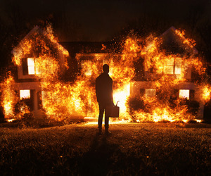 conceptual, fire, and house image