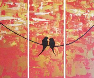modern art, love birds, and bird love image