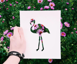 flowers, art, and flamingo image