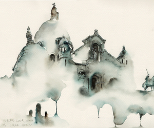 church and watercolor image