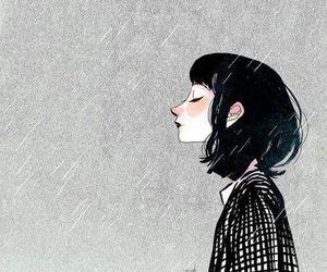 girl, art, and rain image