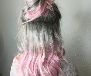 hair, pink, and grey image
