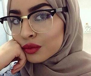 hijab, frappe, and glasses image