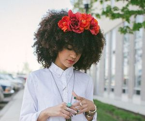 curly hair, flower crown, and natural hair image