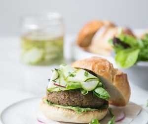 burger, food, and green image