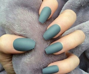 green and matte nails image