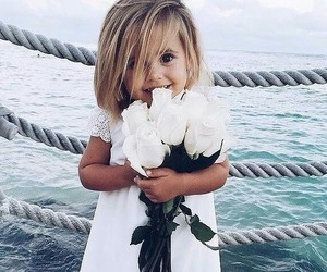 baby, flowers, and white image