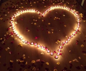 love, candle, and flowers image