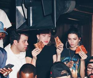 kendall jenner, bella hadid, and pizza image