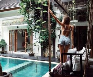 girl, pool, and summer image