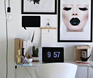 decor, room, and black and white image