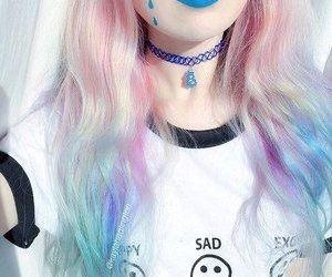 hair, pastel, and choker image