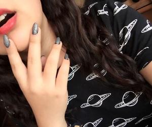 galaxy, lips, and nails image